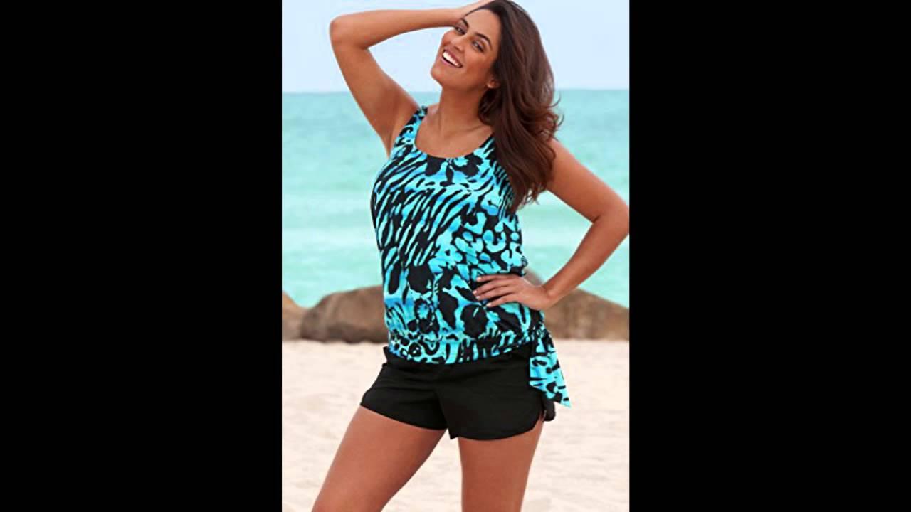 Beach Belle Blue Bell Plus Size Blouson Cargo Shortini Womens ...