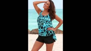 Beach Belle Blue Bell Plus Size Blouson Cargo Shortini Womens Swimsuit Blue Size