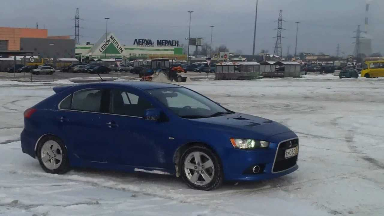 Lancer Sportback Ralliart AWD snow drift  dounts  YouTube