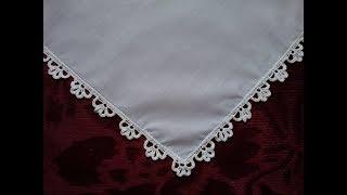 Салфетки, платочки. Обвязка края крючком. №6