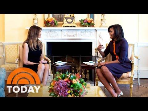 Michelle Obama, Melania Trump Talk Raising...