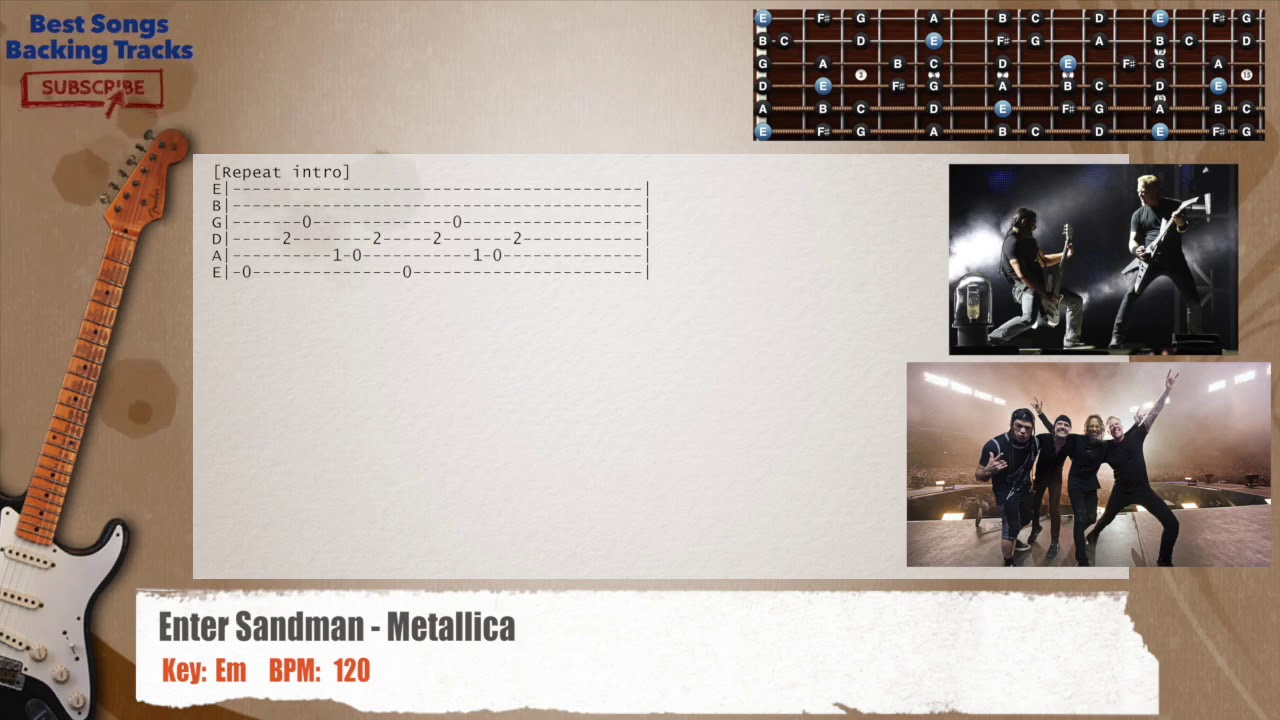 Enter Sandman Metallica Mainsolo Guitar Backing Track With Chords