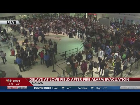 Hundreds crowd through Dallas Love Field TSA after fire alarm evacuation