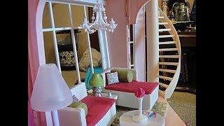 Barbie Three Story Dream House Dollhouse Tour Customized W/ Kidkraft Wooden Doll Furniture