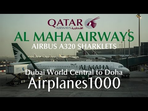 Al Maha Airways Airbus A320 SHARKLETS A7-LAB Dubai World Central to Doha Flight Report *FULL FLIGHT*