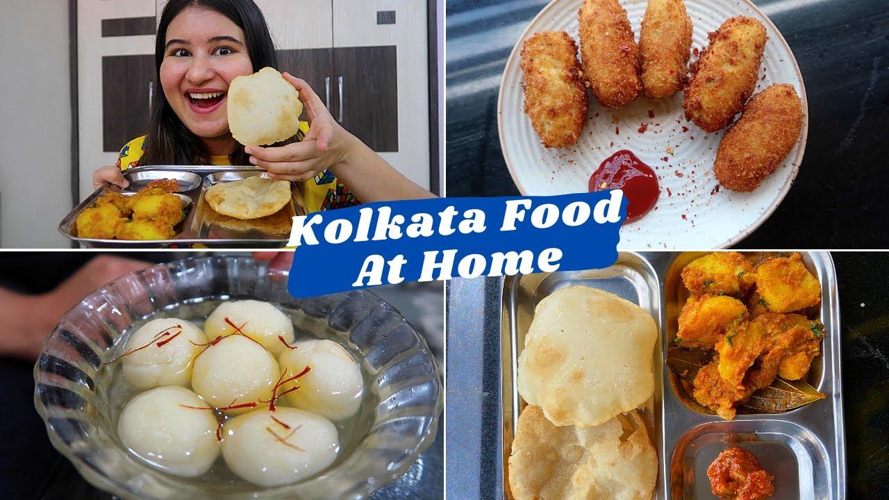 KOLKATA STREET FOOD at HOME | Luchi Alur Dom, Paneer Chop & Roshogolla | #CookWithGG