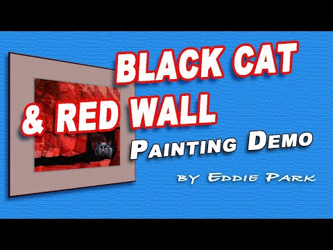 Sad a Black Cat and Red Wall / XP-Pen Artist Pro 15.6 / Speed Painting Demo /Gone with hit and run:(