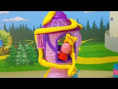 PEPPA PIG ITALIANO - Peppa Pig come Rapunzel sull'alta torre lancia la sua lunga treccia dorata!