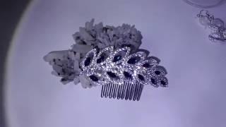 Гребенче-бижу за коса белгийски кристали в тъмно синьо- Touch of Contrast от AbsoluteRose.com