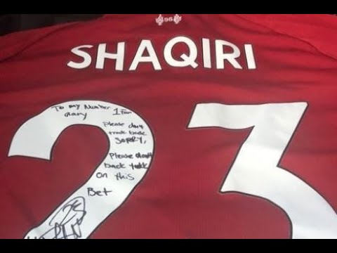 pretty nice 1aa80 88cb9 Xherdan Shaqiri gives Gary Neville Liverpool shirt after Jamie Carragher bet