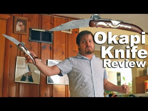 Okapi Ratchet Knife Review and deployment demonstration with a super mean face.