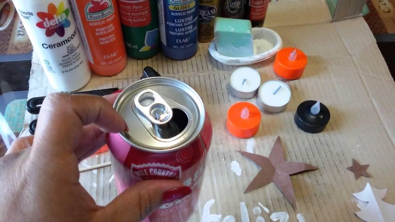 Como hacer lamparas o porta velas con latas de soda en - Como hacer lamparas ...