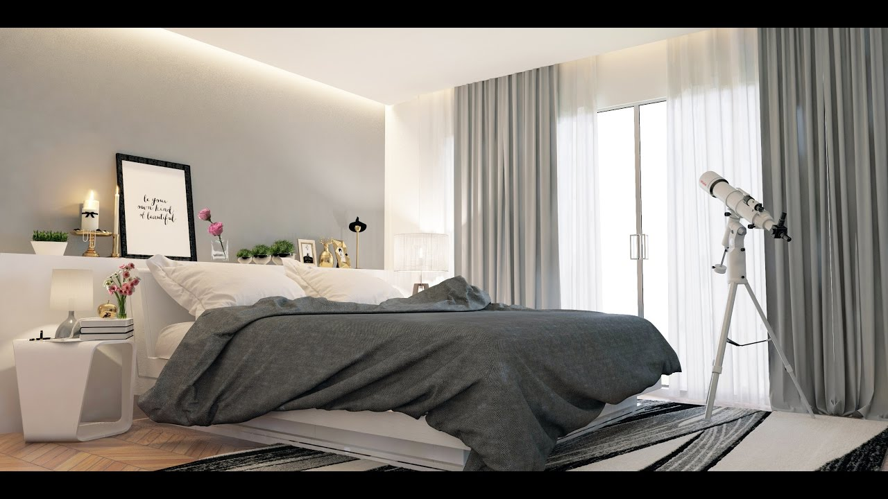 how to create bedroom in 6ds max vray modeling vray lighting vray render  settings ..
