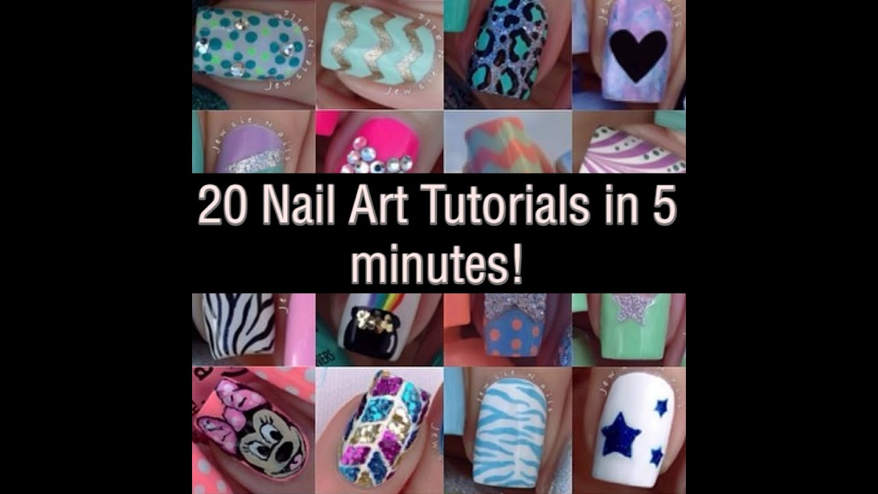 20 Mini Nail Art Tutorials - YouTube