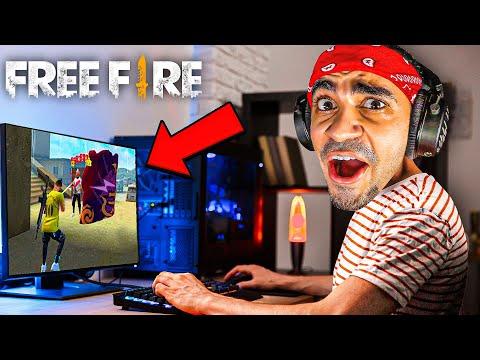 اقوى لاعب في فري فاير - اول مرة العب على الكمبيوتر 😍😱 - FREE FIRE