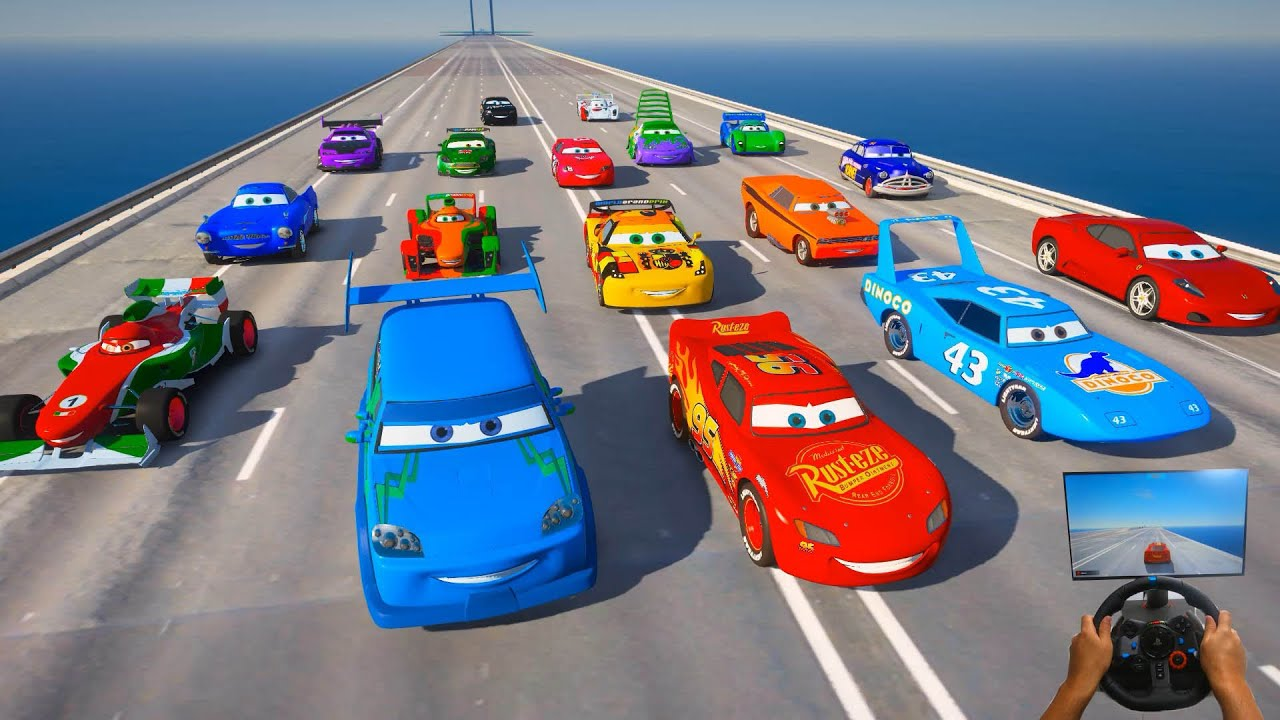 Race All Cars 2   Crazy Track   McQueen VS The King Snot Rod Boost Wingo DJ Francesco and Friends
