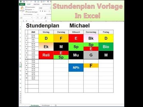 Stundenplan Vorlage in Excel bearbeiten - YouTube