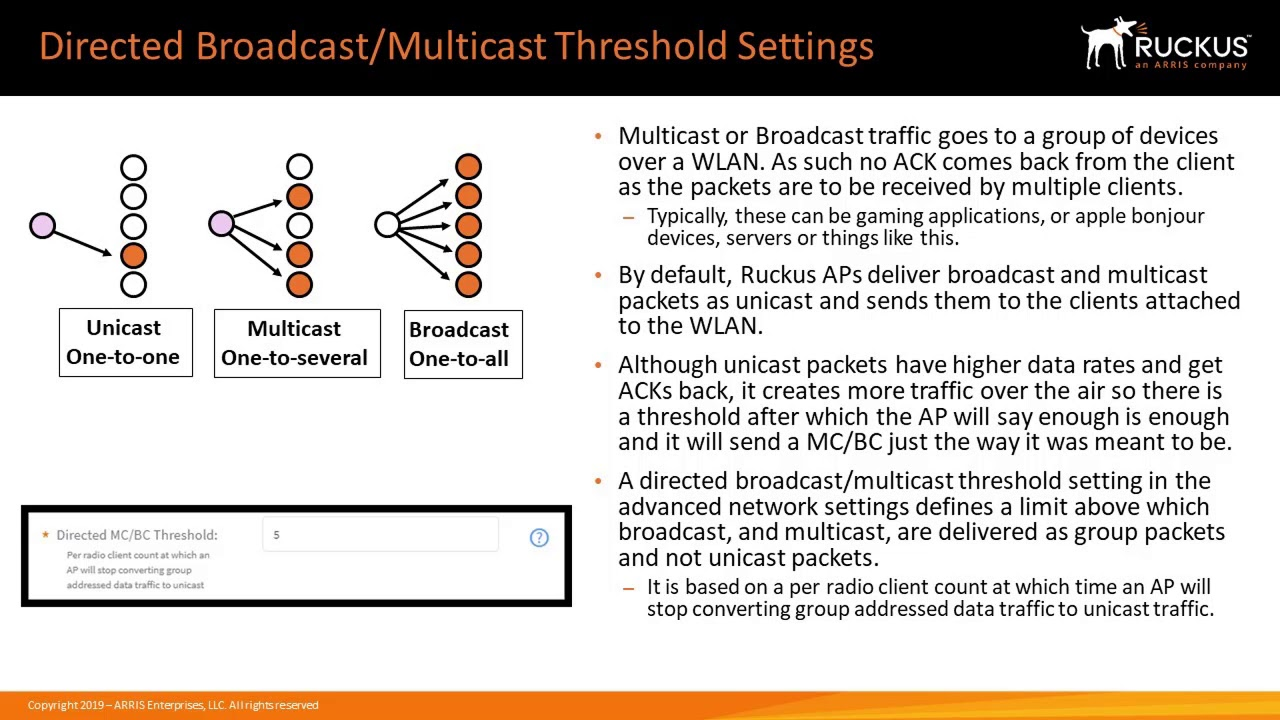 Configuring Directed Broadcast/Multicast traffic threshold- Release -18 03