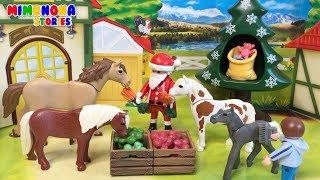 Playmobil Horse Farm 🐴🐴 Santa visita a los Caballitos en Navidad  🎅🌲 Mimonona Stories