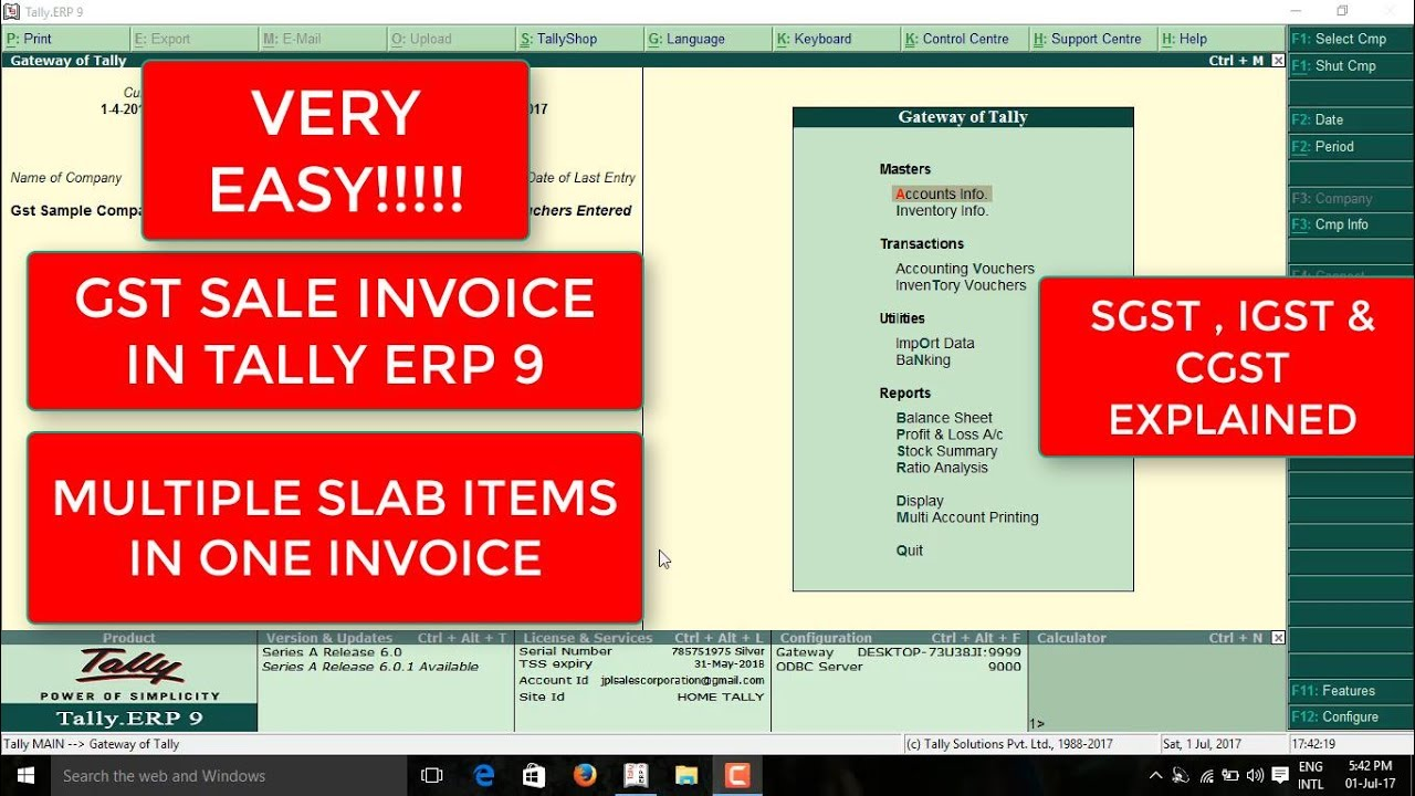 HOW TO CREATE GST SALES INVOICE IN TALLY ERP AND HOW TO CREATE - Creating a invoice tobacco online store