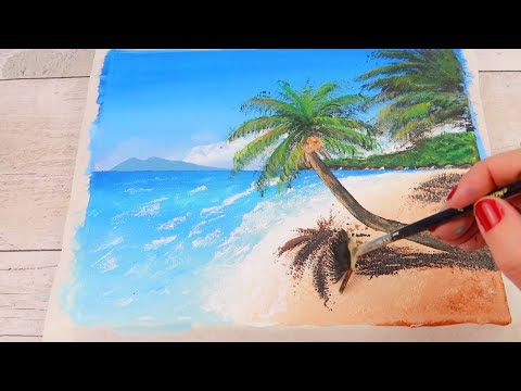 #Shorts Painting for beginners – how to paint a beach landscape – speed art
