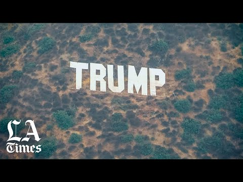 Giant Trump sign appears on the hills along the Sepulveda Pass