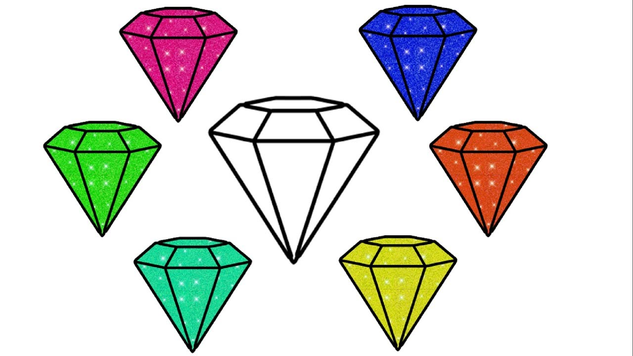 Diamond Drawing and Coloring With Glitters Sparkles for ...