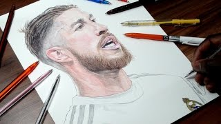 Sergio Ramos Drawing - Real Madrid - DeMoose Art