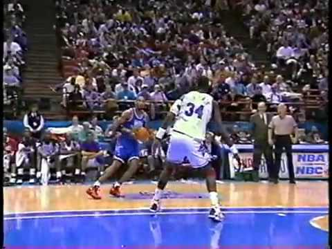 Shaq Dunks on Olajuwon 1994 NBA All Star Game (RARE)