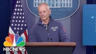 Bill Murray Crashes White House Press Briefing Room To Talk Baseball | NBC News by : NBC News