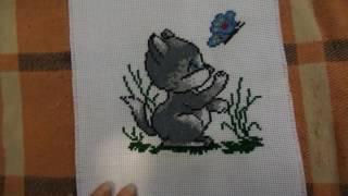 Вышивка крестиком: Котенок с бабочкой