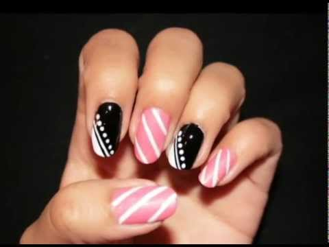 Stripes Pink Black And White Nail Design Youtube