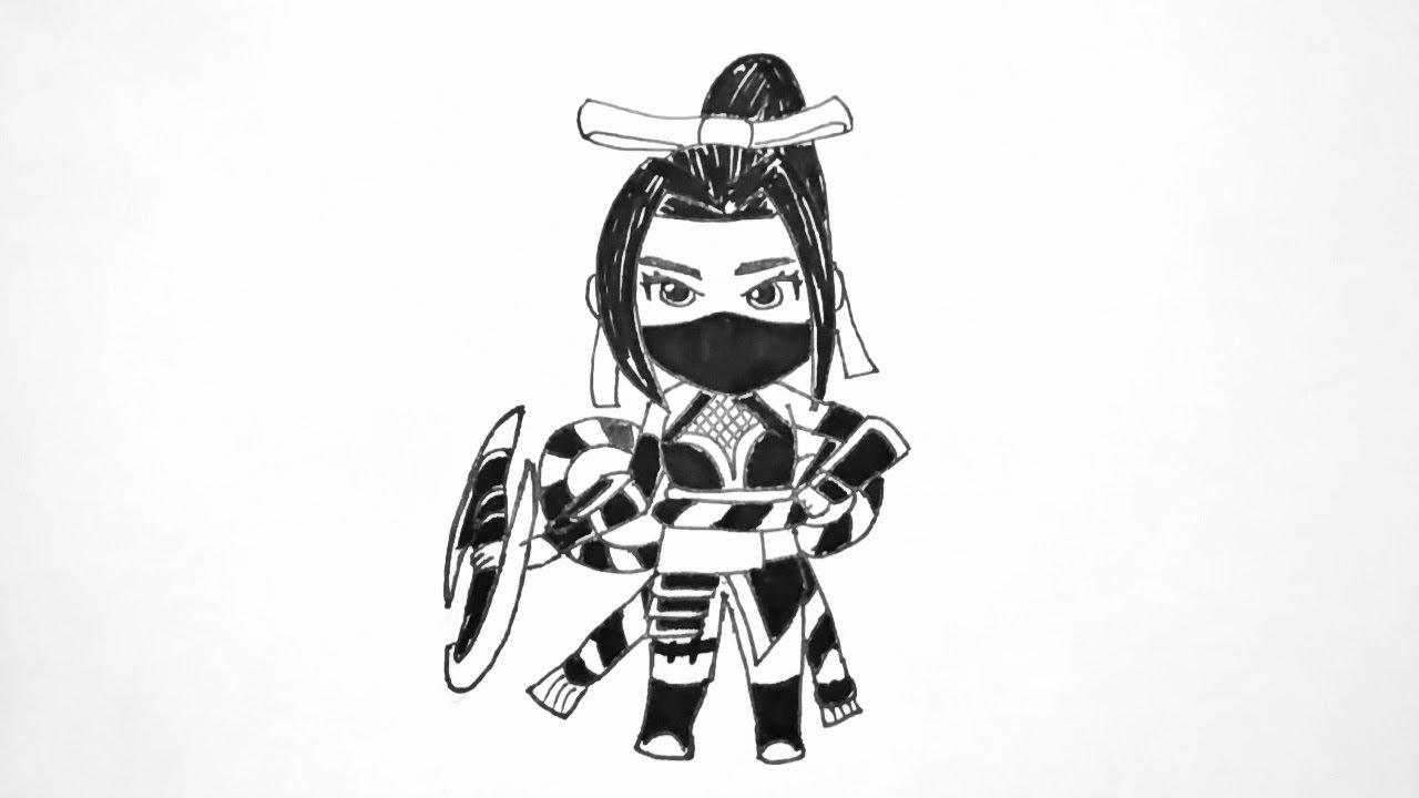 Cara menggambar Hanabi versi Chibi Hero Mobile Legends