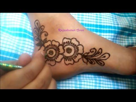 Simple Floral Henna Mehndi Design For Foot Mehndi Design For Feet