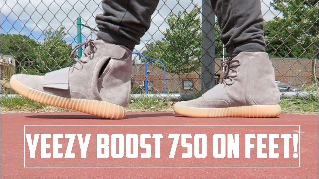 ff83ba792b3 ... best price adidas yeezy boost 750 grey gum glow on foot youtube 1897b  f69b7
