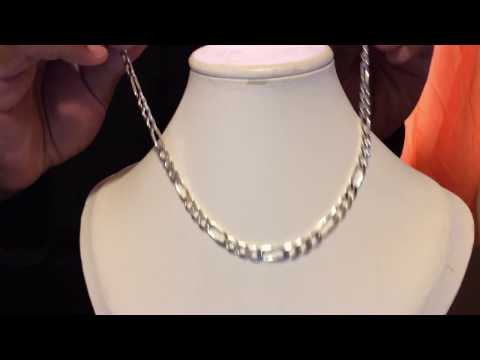 Sterling Silver Figaro Chain 7 Millimeters 20 Inches