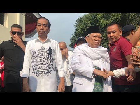Kedatangan Jokowi-Ma'ruf Amin di Gedung Joang di sambut Meriah oleh Para Relawan