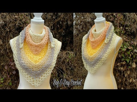 How To Crochet An Easy Cowl Or Shawl - Bag-O-Day Crochet Tutorial #575