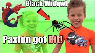 Paxton got bit by a BLACK WIDOW! HE is SPIDERMAN!