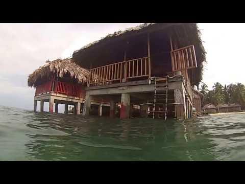 Hut in the sea, Cabañas sobre mar, Naranjo Chico, Kuna Yala, Guna Yala, San Blas Islands, Panama