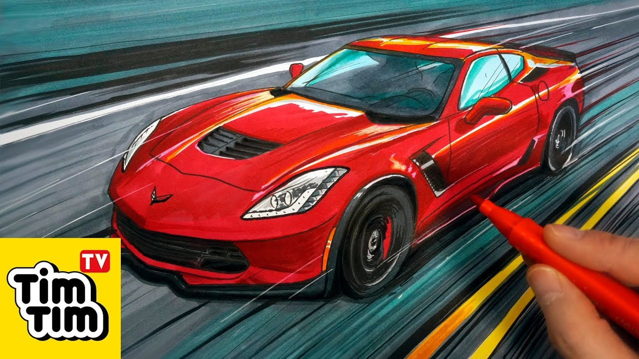 How To Draw Corvette Stingray Super Car 2018 Drawing