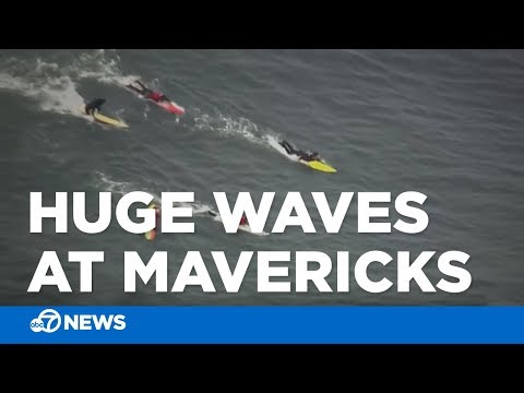 Huge waves bring out surfers at Mavericks in San Mateo County