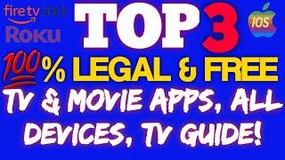 👉TOP 3 💯% LEGAL & FREE MOVIE & TV APPS, IOS, ROKU, FIRESTICK, CHROMECAST👈