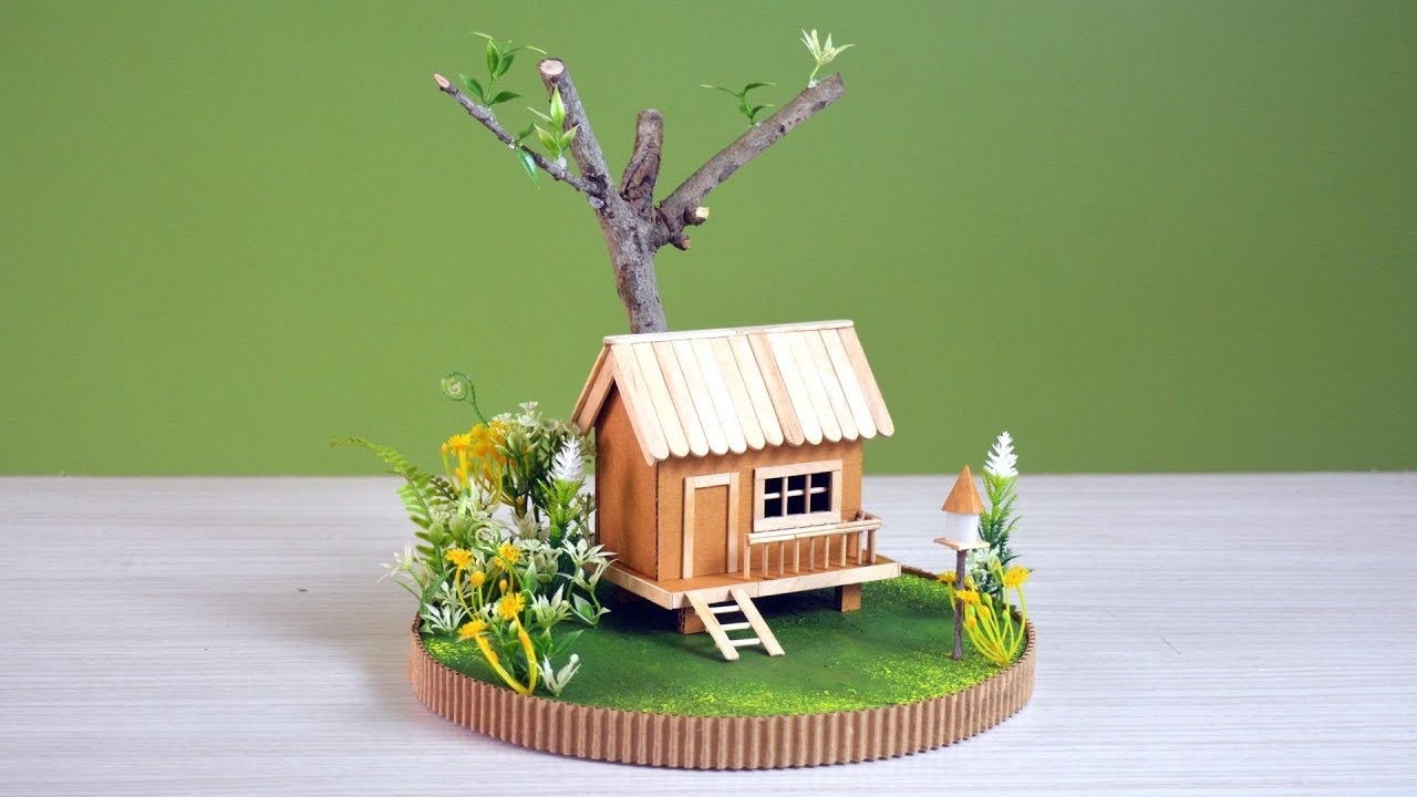 diy  a mini cardboard house with garden and tree  youtube