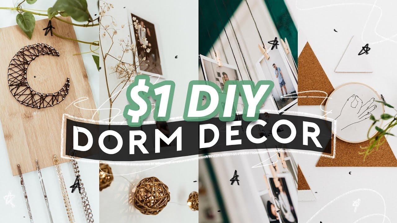 $1 DIY DORM ROOM DECOR (2018) ️ Super Easy + Aesthetic ... on Room Decor Aesthetic id=23477