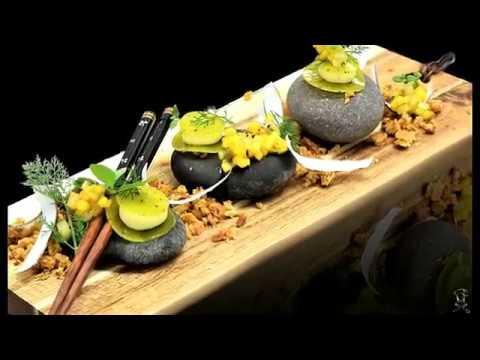Plated dessert: Kiwi Mango Ravioli