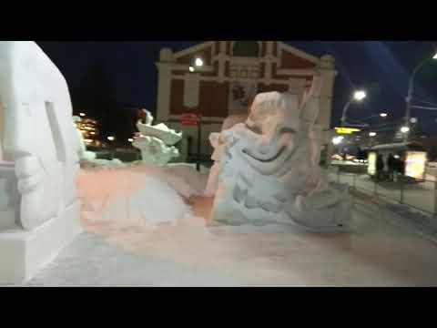 Вечерний Новосибирск, площадь Ленина, оперный театр, камерный зал филармонии, снежный городок