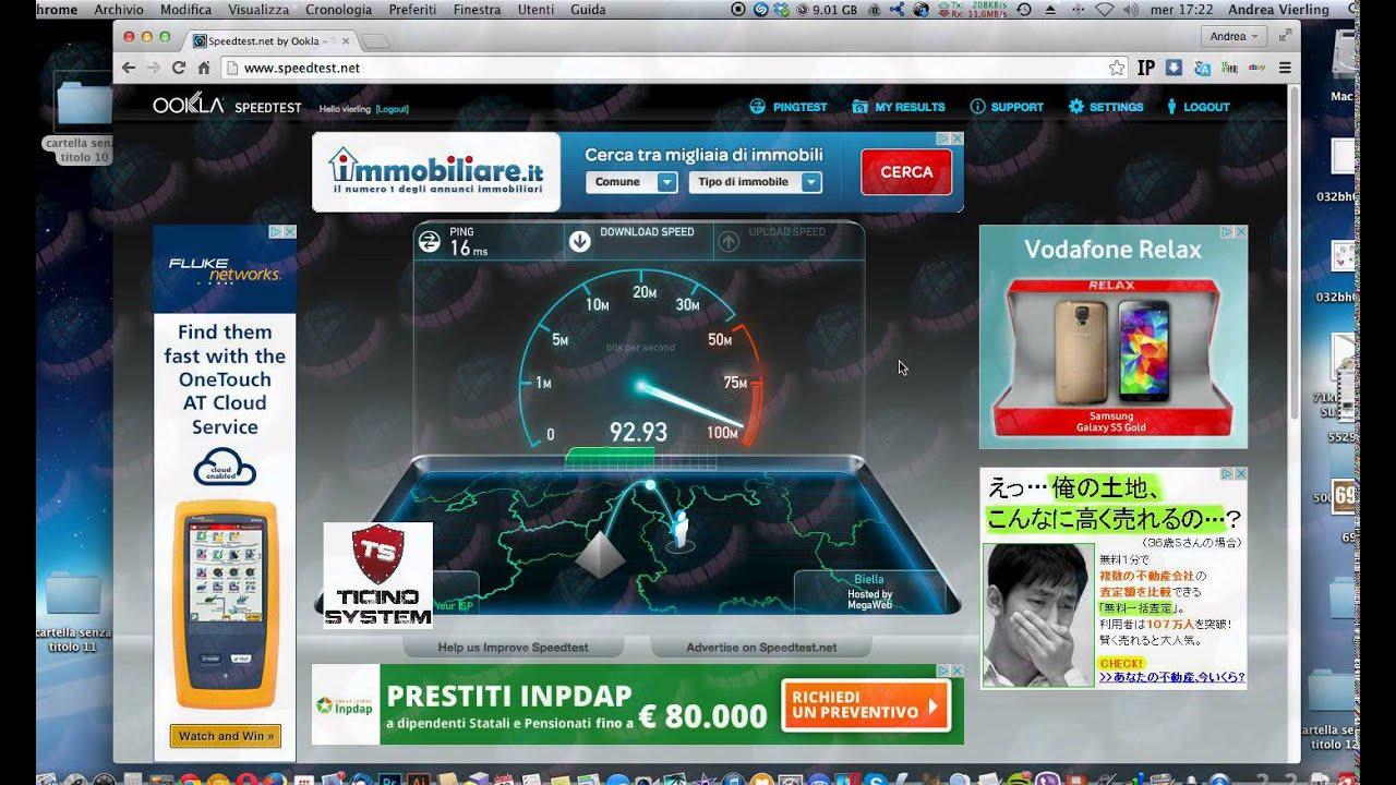 Speed Test Sede Collegamento Fibra 100/100 - YouTube