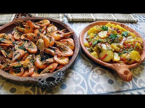 crevettes-sautées-ail-et-persil-accompagnées-de-pommes-de-terre-sautées