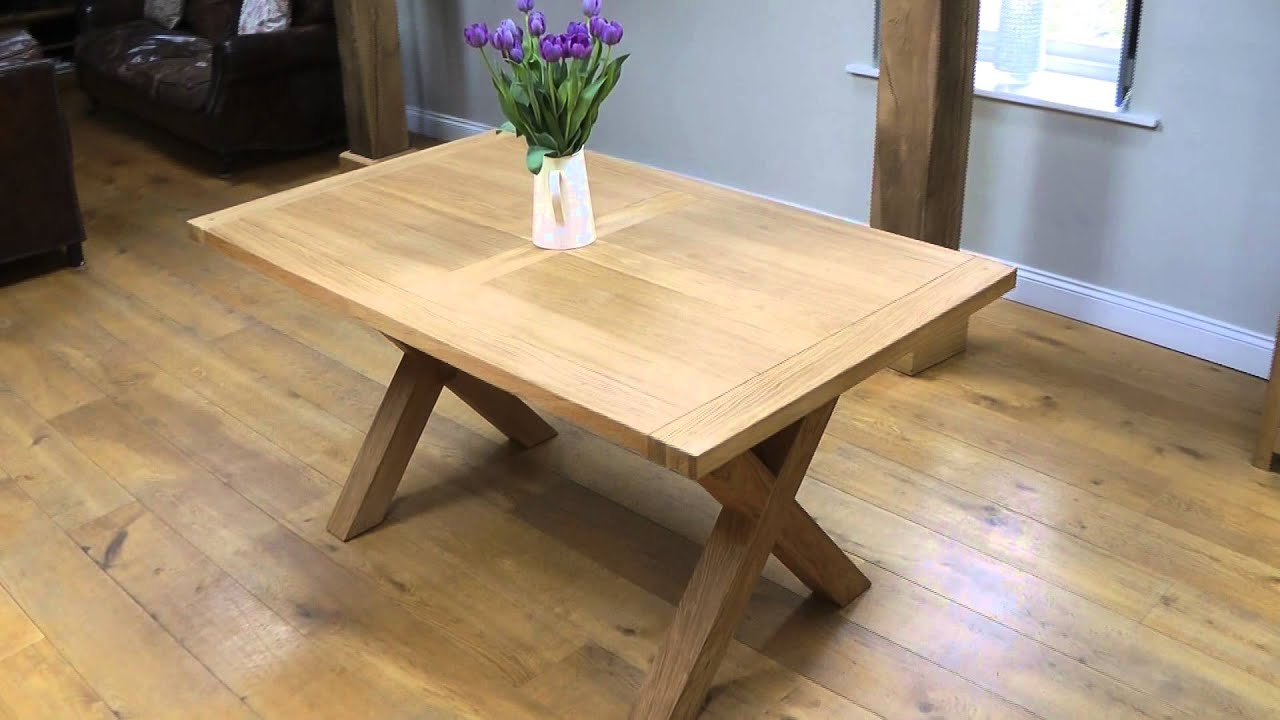 Provence 1 5m cross leg oak table - YouTube